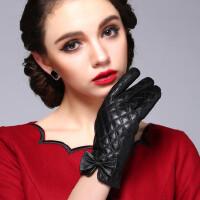 真皮手套加绒保暖韩版女士羊皮手套御寒菱格短款蝴蝶结