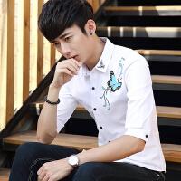 夏季印花五分中袖男士短袖衬衫青少年学生韩版七分发型师修身衬衣