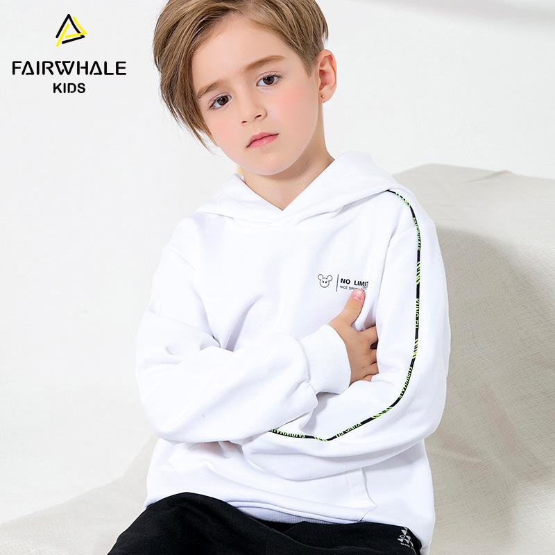 【1件5折折后价113.4】马克华菲童装男童连帽卫衣秋冬新款休闲白色上衣儿童潮款外套