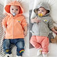 婴儿卫衣拉链衫春秋宝宝外套新生满月上衣0-1岁3-6-9-12个月衣服