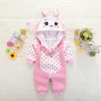 新生儿春夏季哈衣0岁婴儿童连体棉衣服1女宝宝爬服春装满月外出服 粉红色 8512#