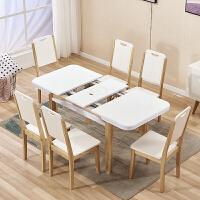 �x桌椅组合多功能饭桌可伸缩餐桌小户型原餐桌椅组合现代简约北欧长方形带电磁炉餐桌W 电磁炉桌+6把C款 实腿、拆装
