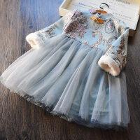 新年款 女童连衣裙夹绒加厚 2017冬装新款韩版儿童旗袍裙复古裙子