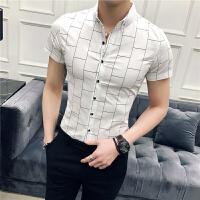 帅气男士格子衬衣修身韩版休闲短袖衬衫青年发型师寸衫潮