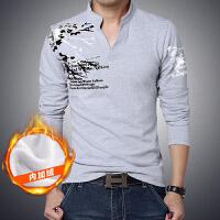 2015秋冬装新款加绒加厚男装t恤上衣男韩版圆领修身男士长袖T恤打底衫