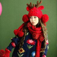 时尚潮萌加厚保暖套装一体可爱小鹿角女帽子围巾手套三件套