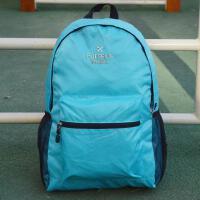 户外旅游轻薄可折叠皮肤包便携旅行双肩背包男女学生书包 湖蓝色 刺绣