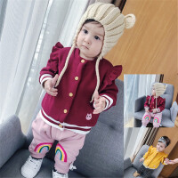 3-6-9个月婴儿上衣加绒冬季外套新生女宝宝红色开衫加厚冬装0-1岁