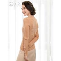 秋季新款V领羊绒衫女套头 短款修身低领薄款打底针织毛衣