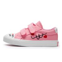 回力童鞋 儿童帆布鞋 低帮魔术贴女童时尚休闲黑白色板鞋