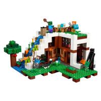 乐高我的世界瀑布基地村庄房子21134男孩子女孩益智积木拼装玩具