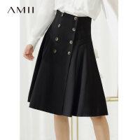 【超品预估价138】Amii极简中性风chic小清新半身裙新双排扣军旅风高腰裙