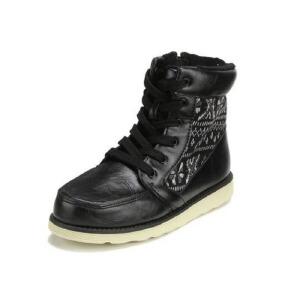 鞋柜SHOEBOX秋冬新款高帮男童系带侧拉链个性靴子