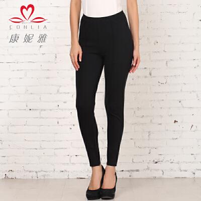 康妮雅秋季新款休闲裤 女 时尚百搭黑色修身显瘦长裤先领卷后购物 满399减50