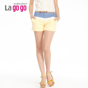 lagogo拉谷谷夏季新款撞色拼接修身舒适短裤