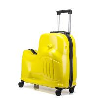 儿童行李箱可坐可骑多功能女拉杆箱公主宝宝卡通男孩懒人密码旅行 24寸柠檬黄 赠送