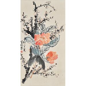 D2484黄宾虹(款)《花卉》(原装旧裱,满斑)