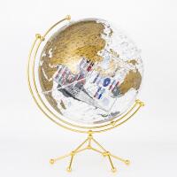 博目地球仪:35cm中英文金色政区圆方透明地球仪