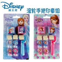 迪士尼儿童印章冰雪奇缘苏菲亚公主米奇学生卡通滚轮手把印章组合