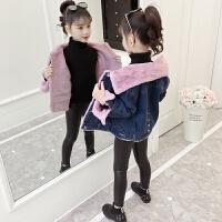 冬装儿童洋气短款棉衣女孩秋冬童装女童加绒牛仔外套