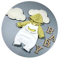 宝宝春装男新生儿连体衣春秋纯棉0-6个月3爬爬服婴儿哈衣外出服潮