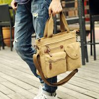 商务男士包包手提公文包横款休闲帆布包潮流单肩斜挎包旅行电脑包 卡其色
