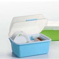 家英带盖欧式沥水碗架/餐具收纳盒-蓝色