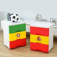 抽屉式收纳柜 加厚世界杯足球柜收纳箱塑料柜子儿童衣服储物盒整理箱