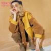 【1件5折】妖精的口袋丛林草原冬装新款复古拼接麂皮绒短款毛呢外套女