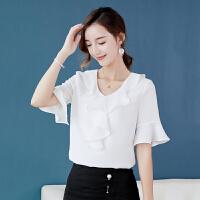 衬衫 女士V领喇叭袖荷叶边衬衫2020夏季新款韩版时尚女式休闲洋气短袖女装雪纺衫