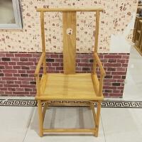 新中式仿古老榆木扶手太师椅子白茬实木餐椅白坯原木家具圈椅 太师椅烫蜡款 运费到付