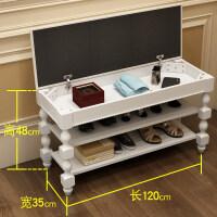 美式换鞋凳鞋柜 实木储物凳收纳凳客厅门口鞋架欧式穿鞋凳