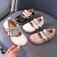 女童皮鞋软底黑色豆豆鞋小女孩公主鞋宝宝单鞋