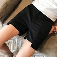 气质夏季男士纯色休闲短裤韩版修身三分裤不规则下摆夜店潮裤潮