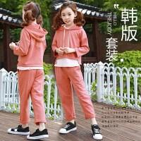 儿童装女童秋季套装2017新款纯棉连帽卫衣长裤两件套韩国休闲童装