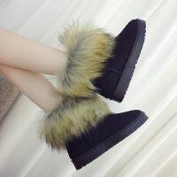 仿狐狸毛雪地靴厚底平底短靴百搭学生鞋加绒保暖棉鞋女靴