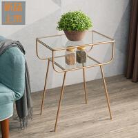 北欧沙发边几角几小茶几客厅钢化玻璃铁艺现代简约卧室床头柜边桌定制