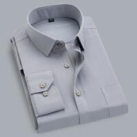 男装男士商务衬衫长袖纯色职业工装白衬衣免烫