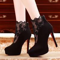 莫蕾蔻蕾性感细跟女靴脚踝靴防水台时装靴高跟鞋短靴蕾丝女靴 212-9