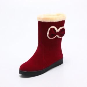 O'SHELL法国欧希尔新品冬季151-711韩版磨砂绒面平跟女士雪地靴