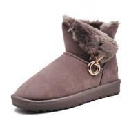 雪地靴女皮毛一体女靴保暖加绒短靴圆头防滑短筒棉靴