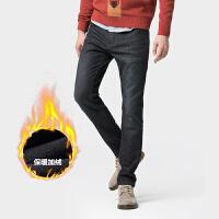 骆驼男装2019冬季新款牛仔裤男士韩版潮流小直脚加绒弹力休闲长裤