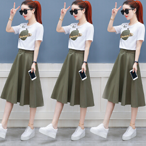 夏季连衣裙女装春夏装2018新款小清新韩版时髦两件套装裙子中长款