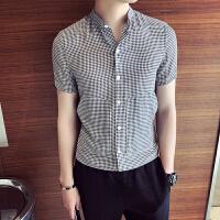 夏季白衬衫男短袖修身韩版潮流帅气男士格子衬衣长袖立领寸半