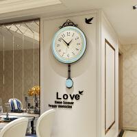 创意潮流现代简约欧式石英钟复古挂钟客厅家用时尚网红钟表