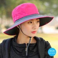 帽子女户外大沿遮阳帽韩版时尚防晒帽休闲百搭渔夫帽登山太阳帽