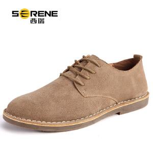 西瑞男士休闲反绒皮鞋秋季新款真皮英伦透气内增高潮鞋6308