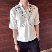 2018夏款潮男短袖衬衣时尚中风图腾刺绣衬衫薄款宽松套头寸衫潮