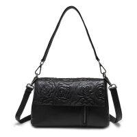 女士包包2018新款真皮女包斜挎包软皮手提包小包单肩包中年妈妈包 黑色