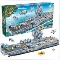 全店满99包邮!邦宝军事海战拼装积木 儿童创意益智力玩具拼插塑料积木航空母舰